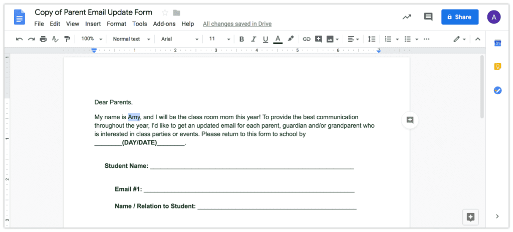 One of your responsibilities as room mom is to contact parents by email about class parties, teacher gifts, and upcoming events. Start the year off right by getting this free contact form template to request updated emails in a snap! Repin and check out my blog for Room Moms: roommomrescue.com