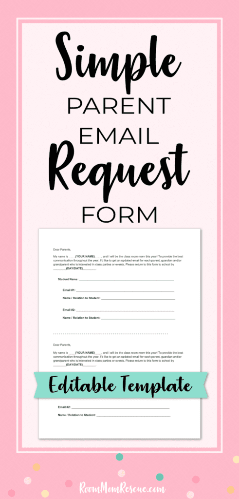 One of your responsibilities as room mom is to contact parents by email about class parties, teacher gifts, and upcoming events. Start the year off right by getting this free contact form template to request updated parent emails in a snap! Repin and get the Room Moms Quick Start Guide at: www.roommomrescue.com #roommom #roomparent #roommomrescue