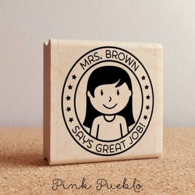 My latest obsession on Etsy is these adorable custom teacher stamps. Available in self inking and perfect teacher gift for birthday, Christmas, Teacher Appreciation Week or End of Year gift. Explore fun designs and cool grading stamps to help motivate students! #teacherlife #teacherhack #coolteacher #teachergift #roommomrescue