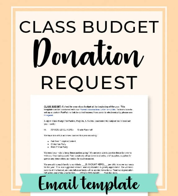 Ready to collect donations for your class budget? Use this email template to collect money from parents to put towards class parties, events, and projects for the year! Access the complete Room Mom Resource Library at www.roommomrescue.com! #roommom