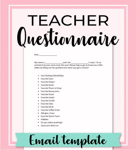 Find out exactly what gift to give the teacher to show her you appreciate everything she does! No need to search for ideas, let her tell you what she really wants with this free email template questionnaire. Give the best birthday, Christmas and End of Year gifts, year after year!Repin and get the Room Moms Quick Start Guide at: www.roommomrescue.com #roommom #roomparent #roommomrescue