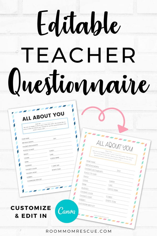 teacher questionnaire for gifts