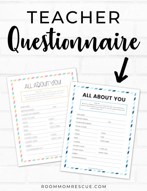 room mom questionnaire for teacher