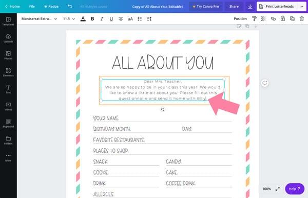 teacher favorite things template editable