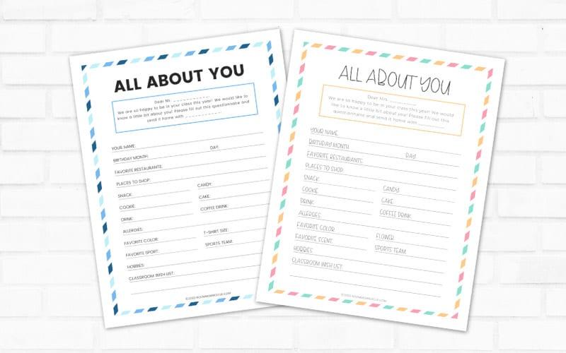 Editable Room Mom Questionnaire For Teacher Printable