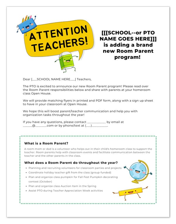 room parent program teacher form