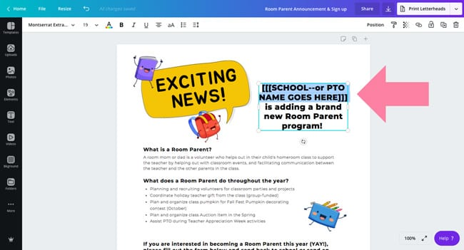 room parent sign up template