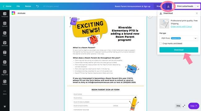 room parent program recruitment