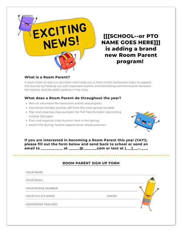 room parent signup template