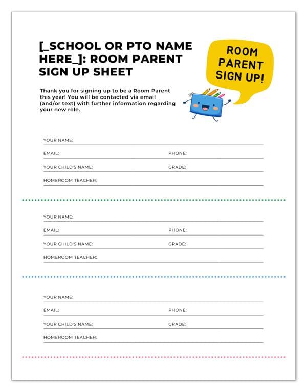 room parent signup form