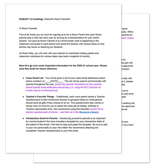 room mom welcome letter template