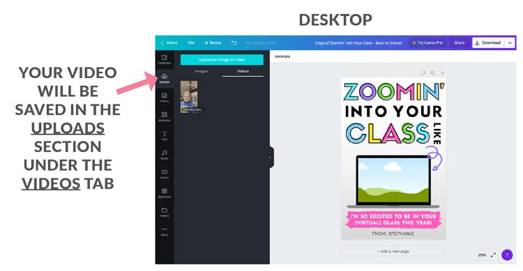 back to school virtual teacher gift canva