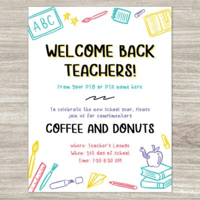 back to school teacher breakfast invitation