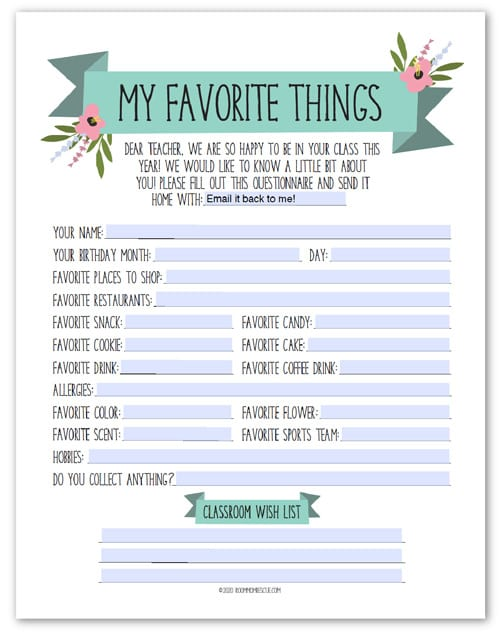 teacher favorites questionnaire
