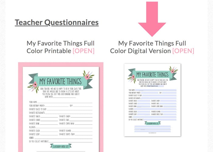 teacher favorite things template editable