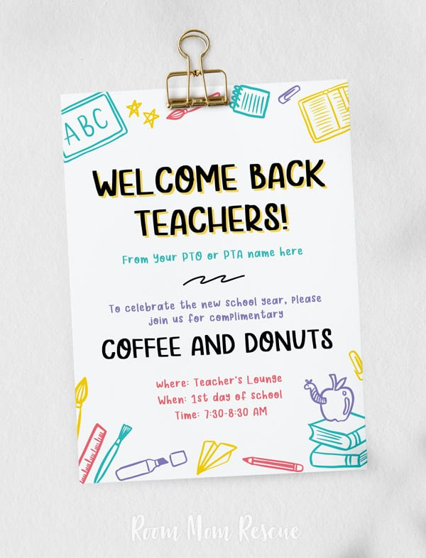 Invitation for Back to School Teacher Breakfast