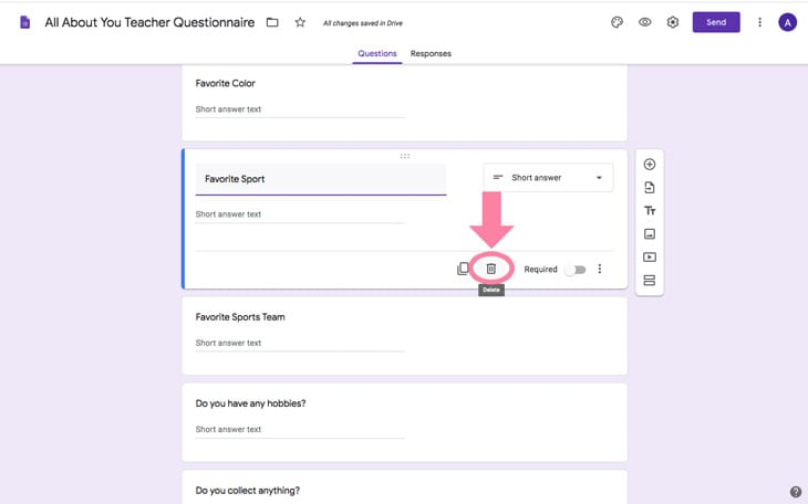 google forms teacher questionnaire all about you