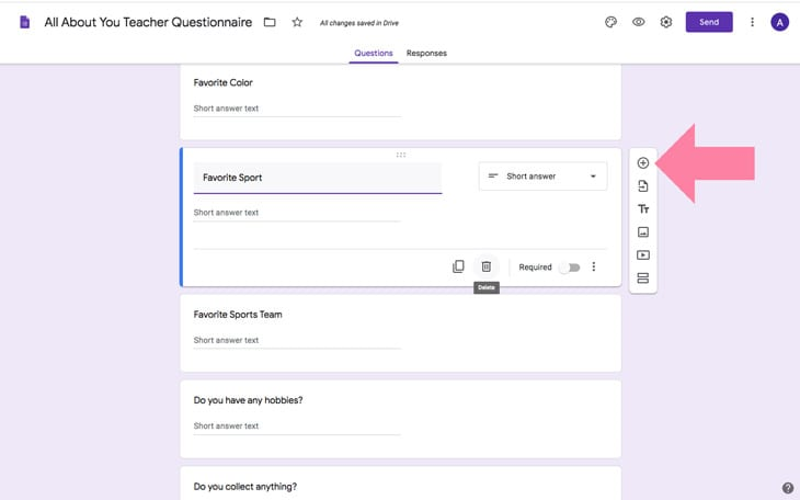 google forms teacher questionnaire get to know you