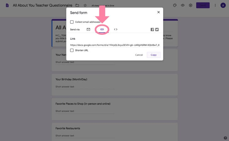 google forms teacher questionnaire room parent