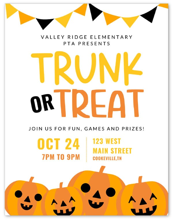 trunk or treat flyer free printble