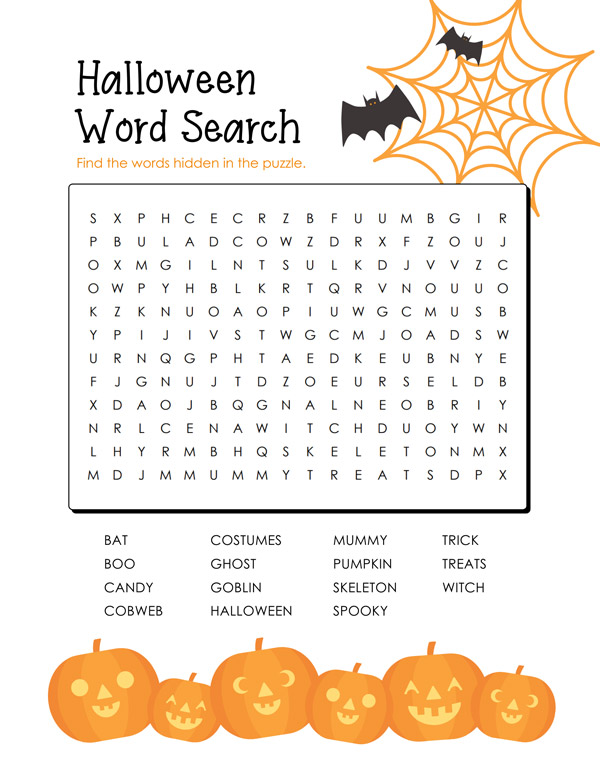 free printable halloween word search cute