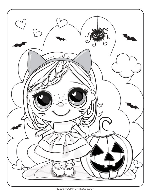 cute halloween coloring pages for kids with girl and jack o lantern