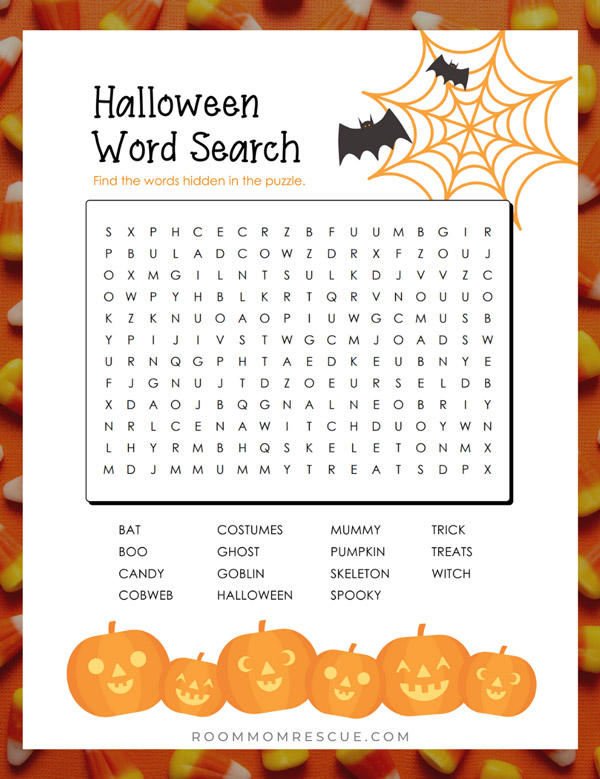 4th grade printable halloween word search