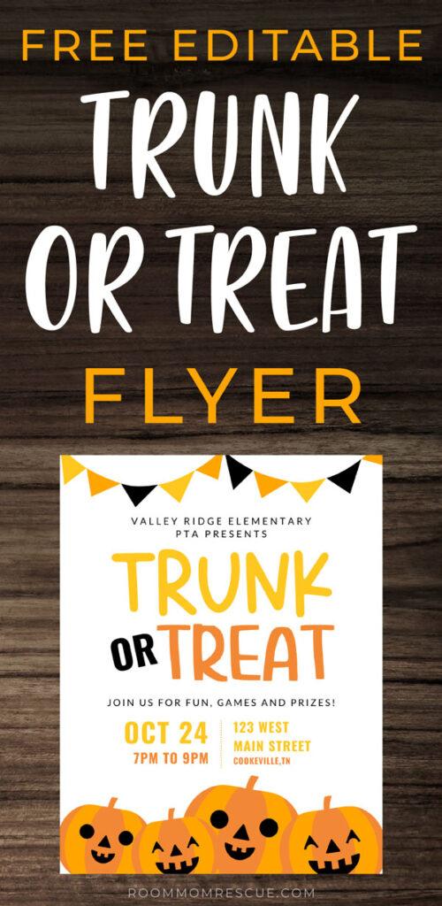 trunk or treat flyer free printable printable