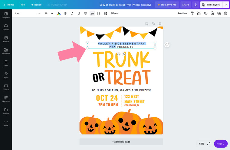 editable trunk or treat printable