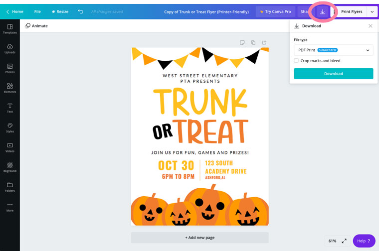download your trunk or treat flyer