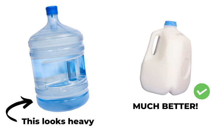 container options for coin collection including a 5-gallon water bottle and a 1 gallon milk jug