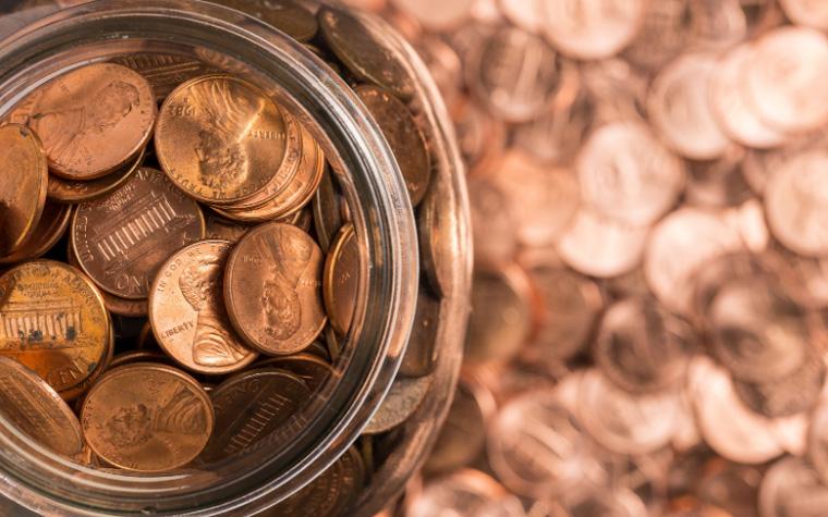 fundraiser jar full of pennies