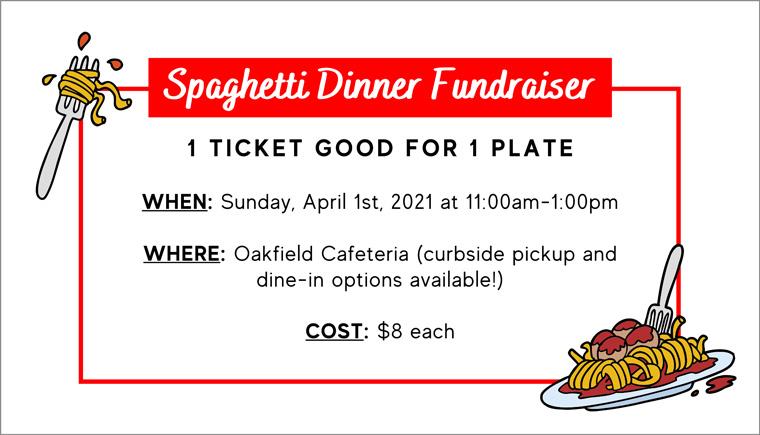Spaghetti dinner fundraiser flyer tickets