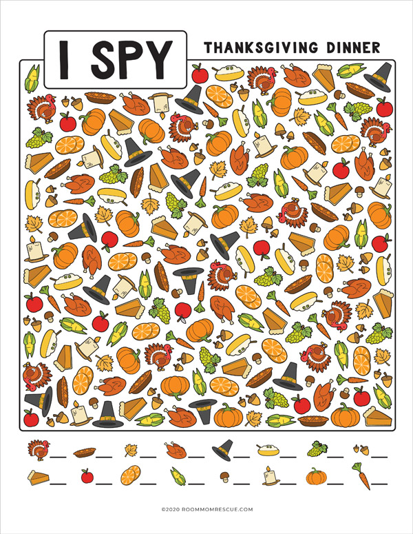 full color thanksgiving I spy worksheet
