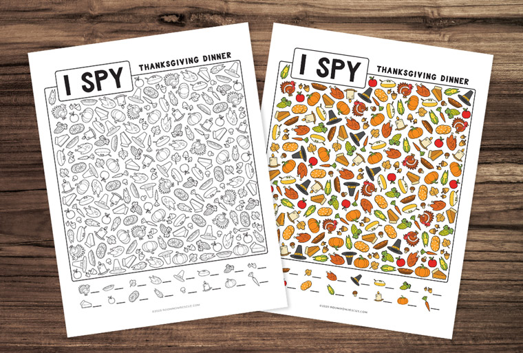 thanksgiving I spy coloring page (black and white) with full color version