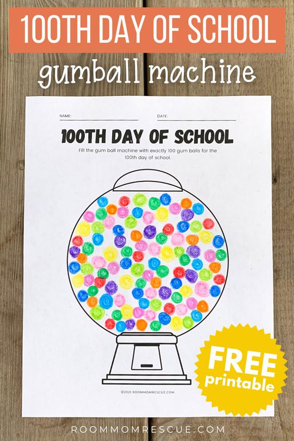 100th day of school gumball machine worksheet