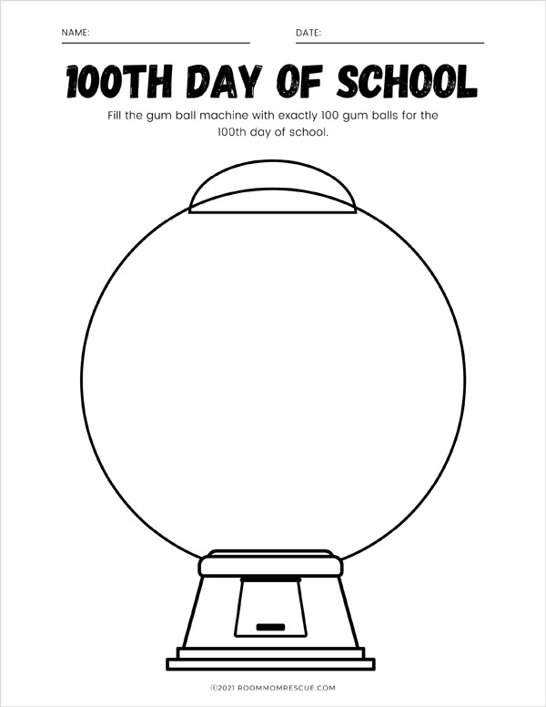 100th day of school gumball machine free printable