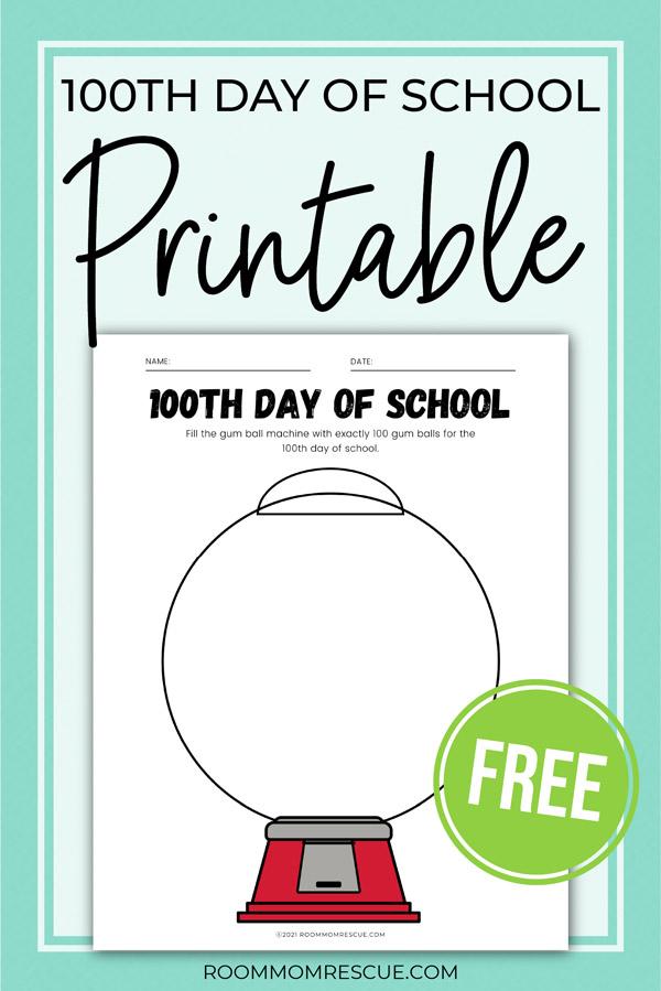 100 days of school gumball machine free worksheet