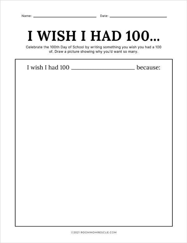 100th day of school writing prompts kindergarten